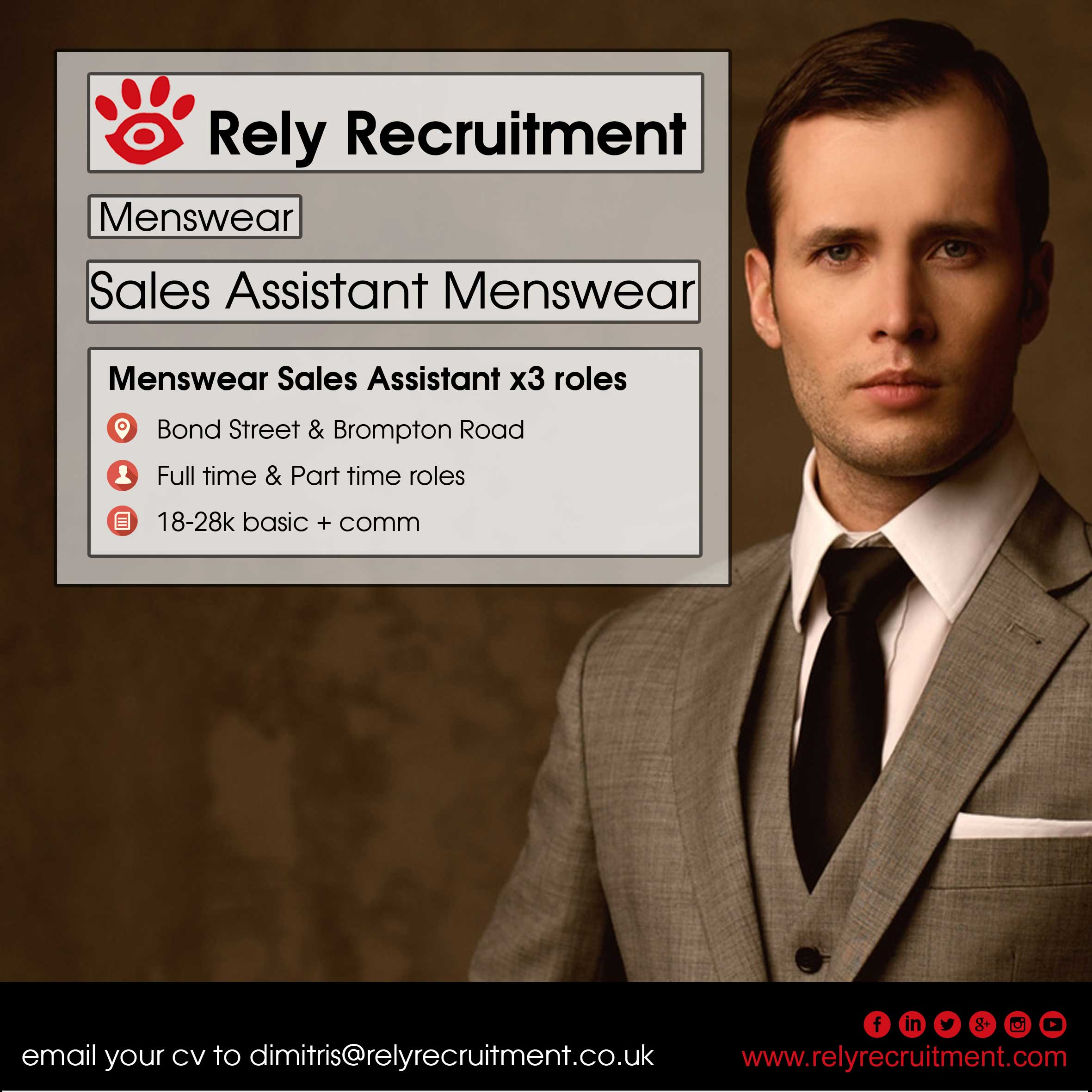 luxury menswear s assistant rely recruitment